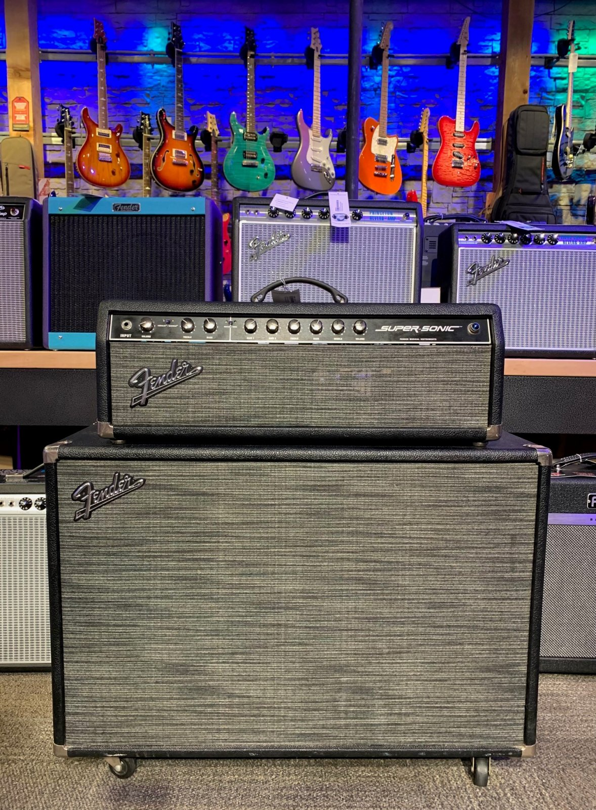 Used Fender Supersonic 60 Head with 212 Cabinet in Black Pepper