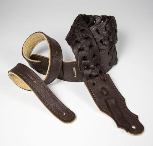3 Chocolate Garment Leather Link Guitar Strap   Franklin