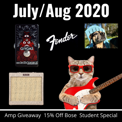 Fender Amplifier giveaway. Giygas. Student Savings. It's all in our July/August 2020 Newsletter.
