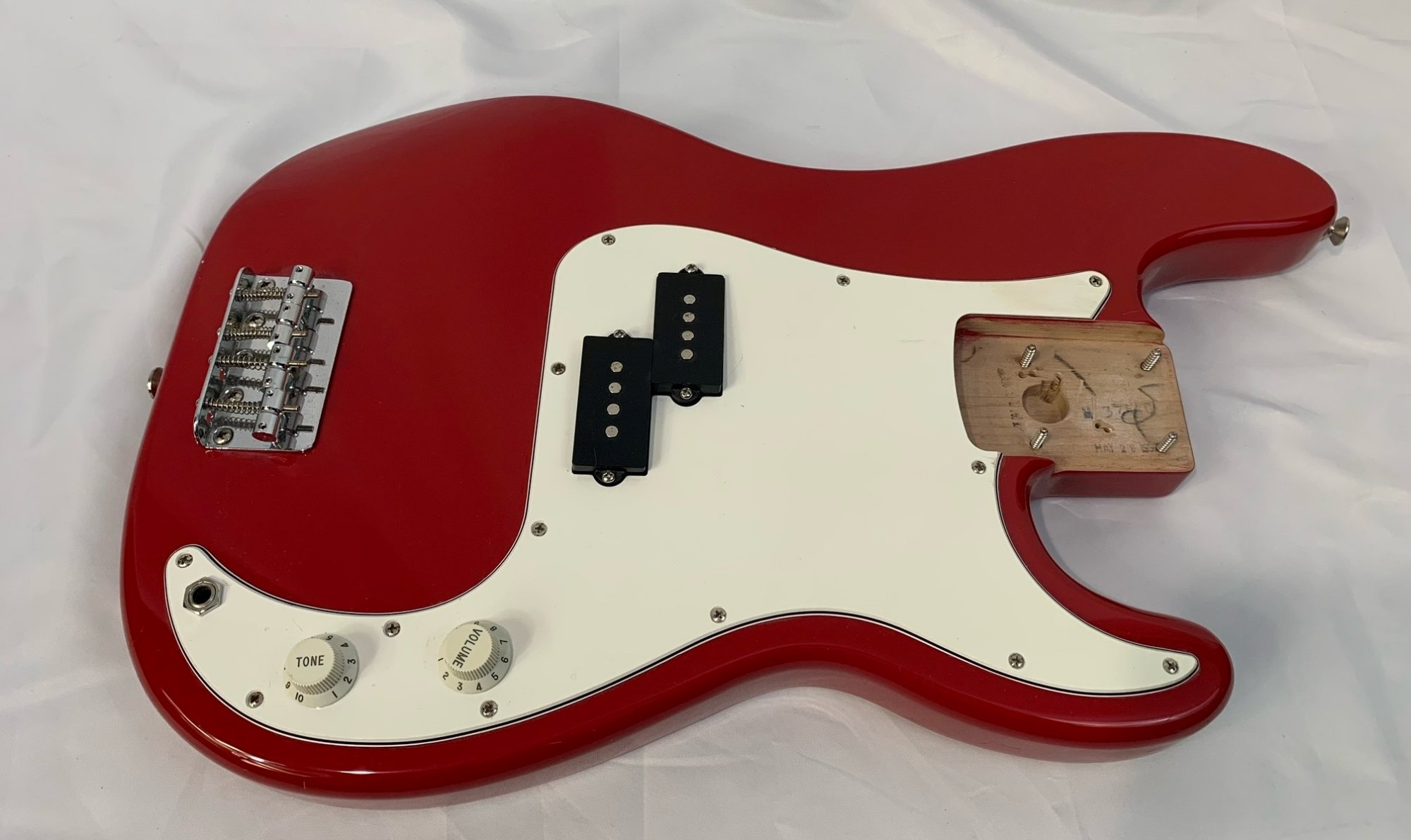 Used Red Fender P- Bass Body with Pickup