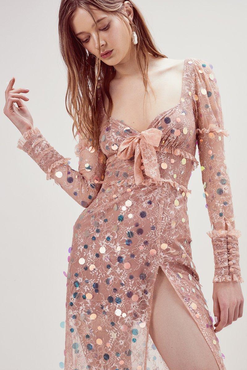 Nude Pailette Maxi Dress
