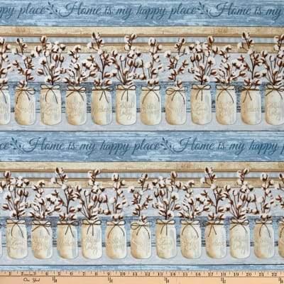 Cotton Blossom Blue Border Strip C7176-BLUE