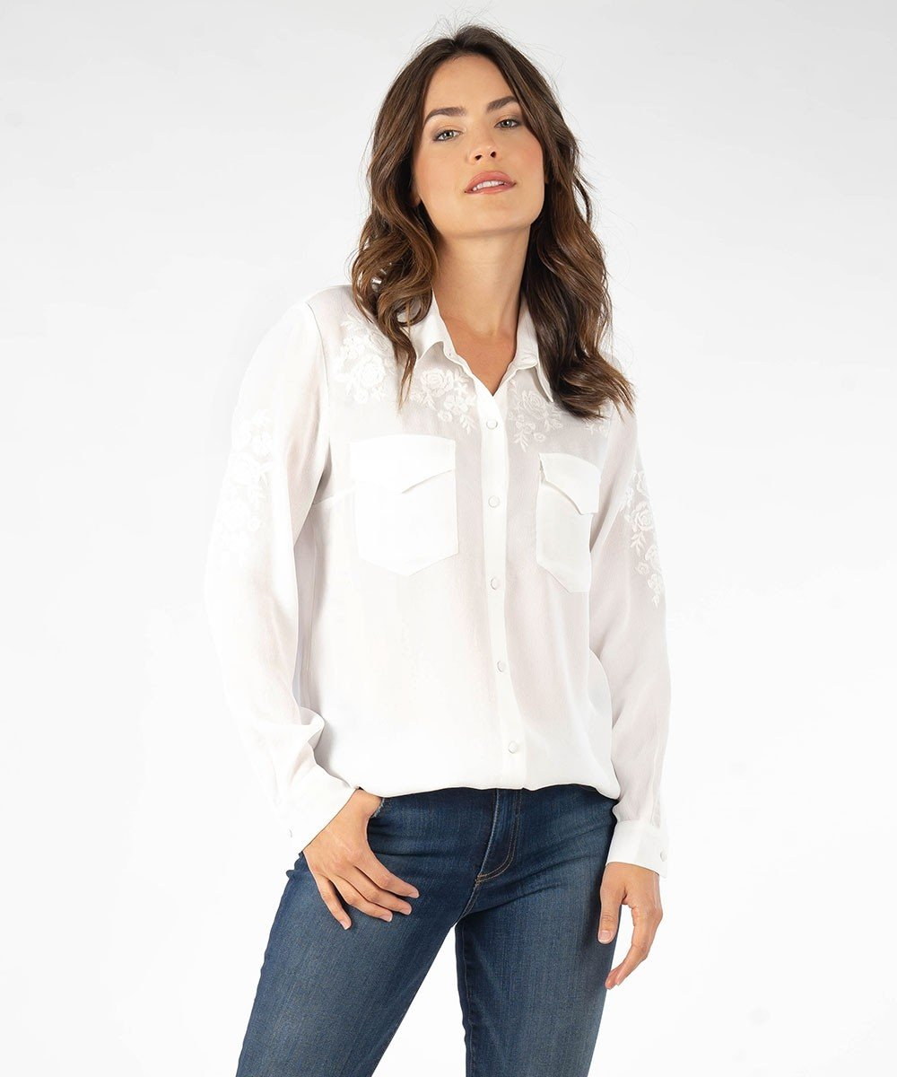 Josette with Rose Embroidery Blouse from Kut from the Kloth