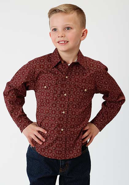 Lattice Shadow Long Sleeve Boys Woven from Roper