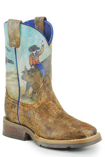 Bucking Brahma Square Toe Boot from Roper