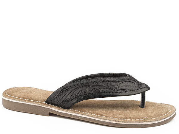 Black Tooled Sandal from Roper