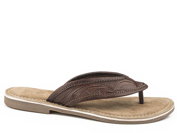 Brown Tooled Sandal from Roper