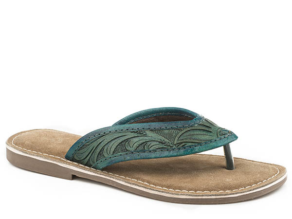 Turquoise Tooled Sandal from Roper