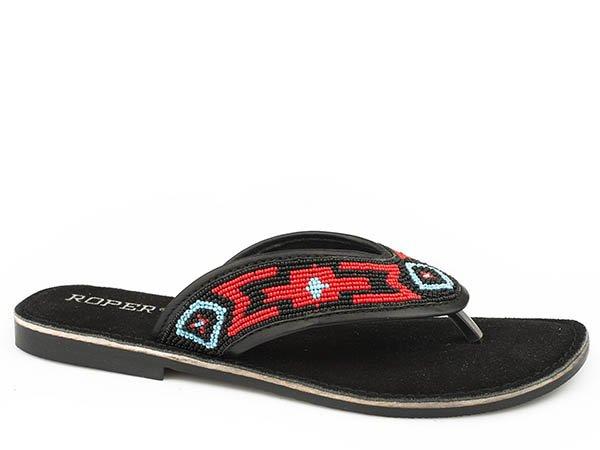Penelope Black Multi Beaded Sandal