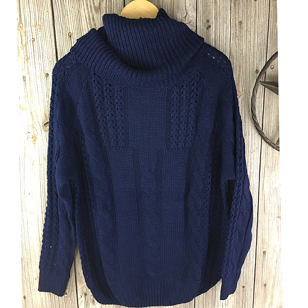 Ladies Cowl Neck Cable Knit Sweater