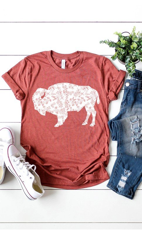 Floral Design Buffalo Graphic Tee