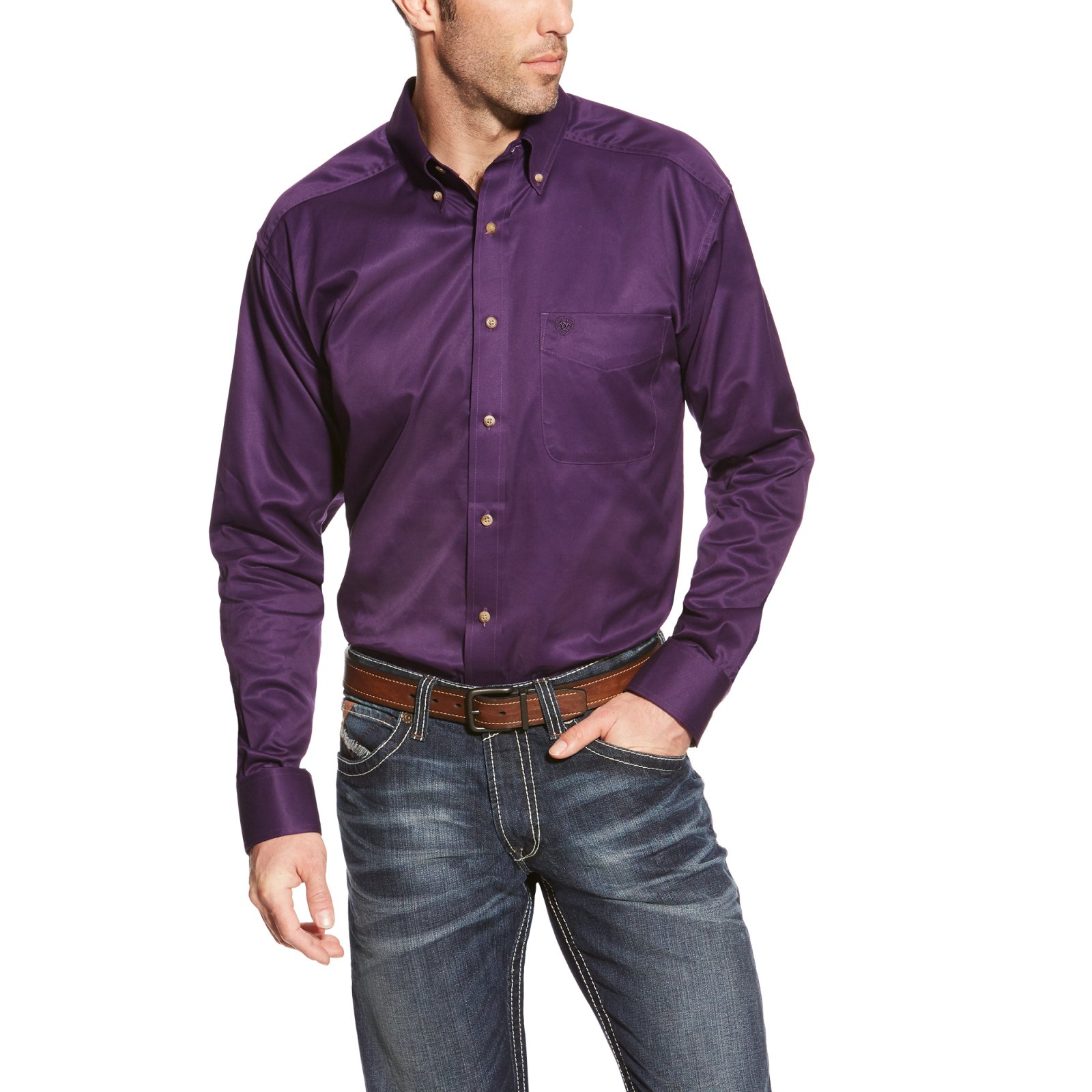 Men''s Long Sleeve Solid Twill Woven from Ariat