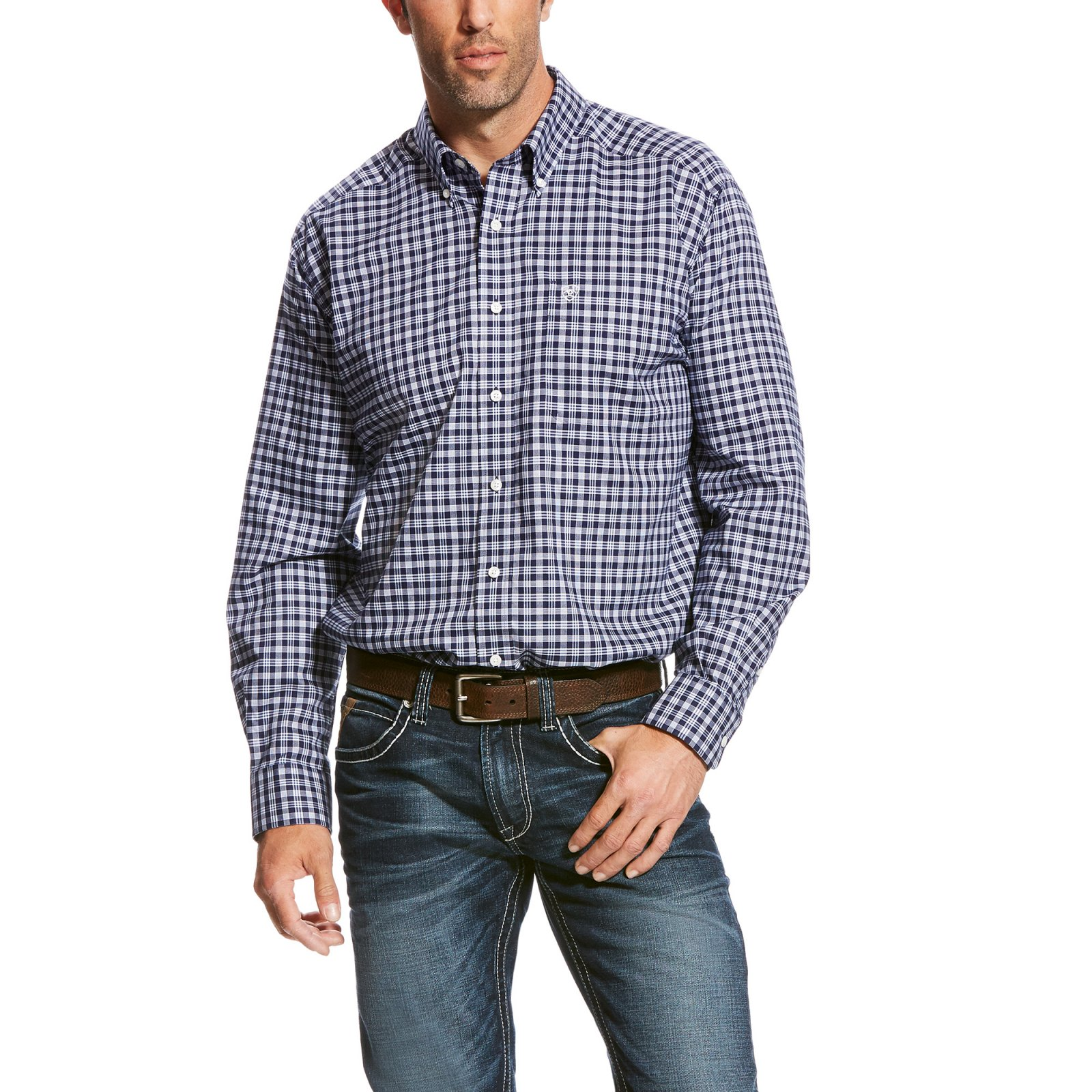 Men's Wrinnkle Free Quadri Plaid Long Sleeve Woven from Ariat