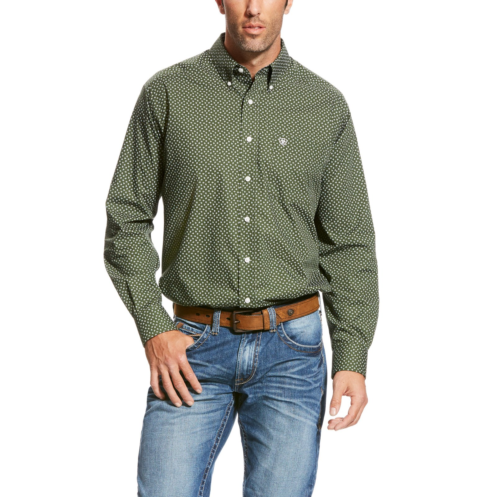 Men's Wrinkle Free Urwin Long Sleeve Printed Woven from Ariat