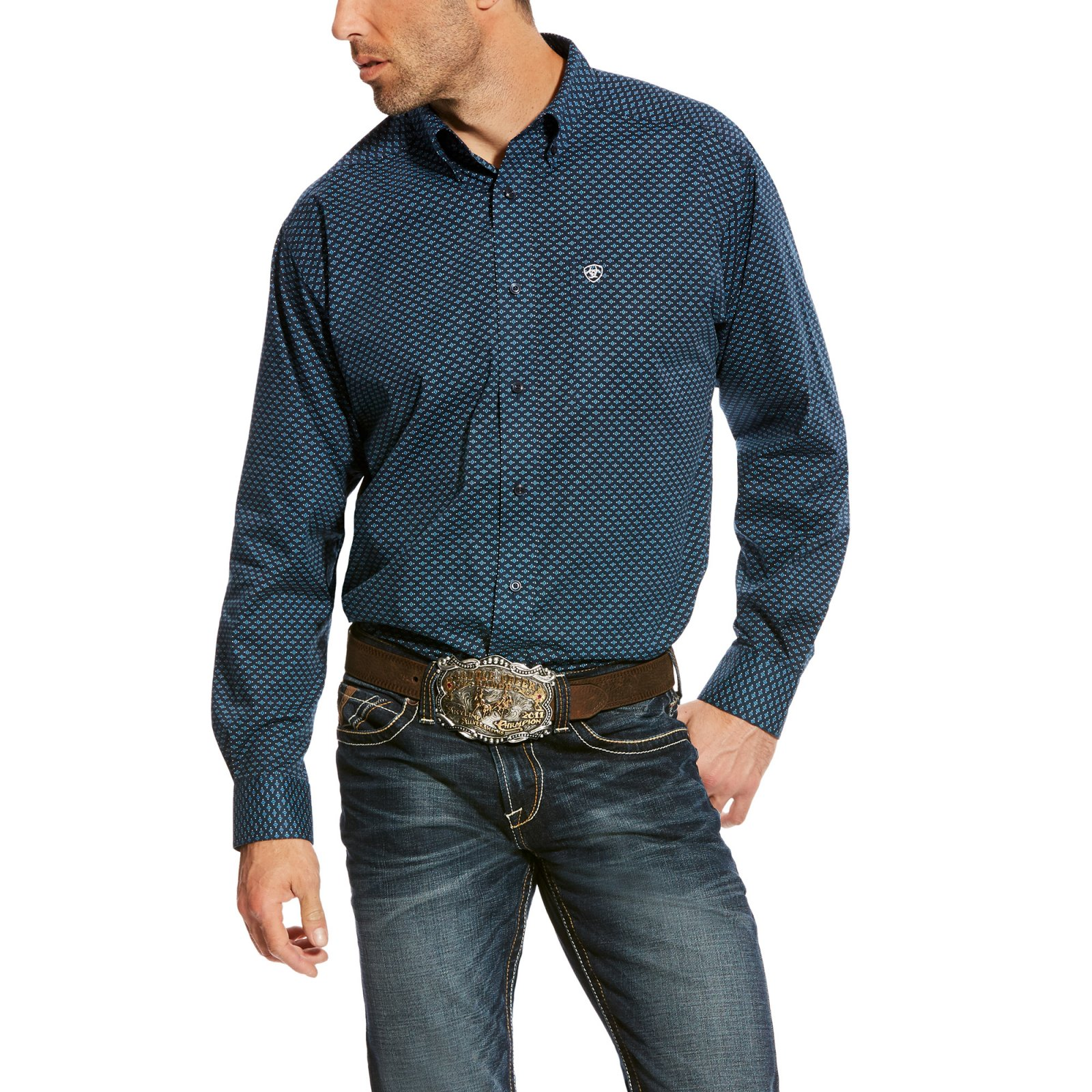 Men's Aticus Stretch Long Sleeve Printed Woven from Ariat