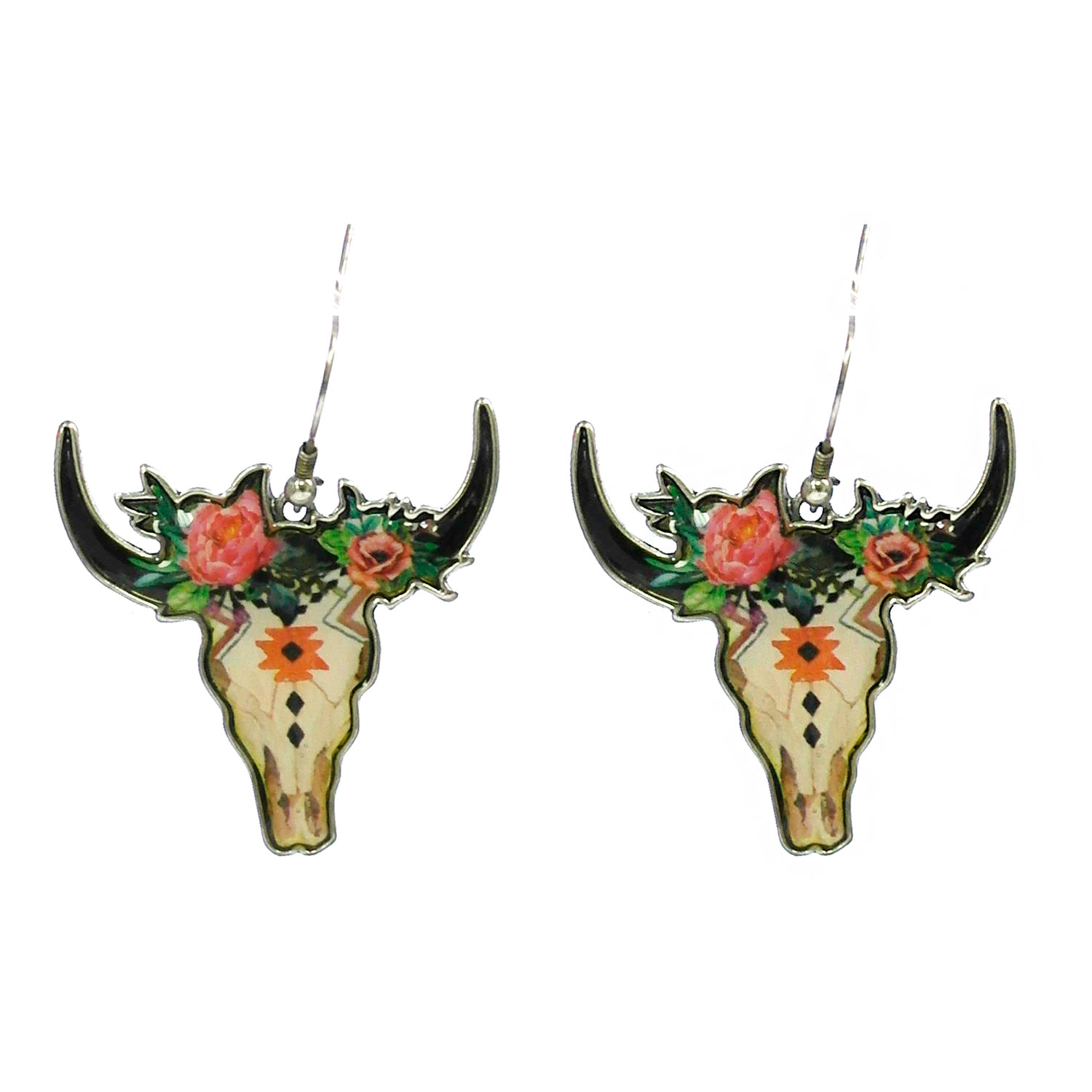 Floral Print Steer Head Earring