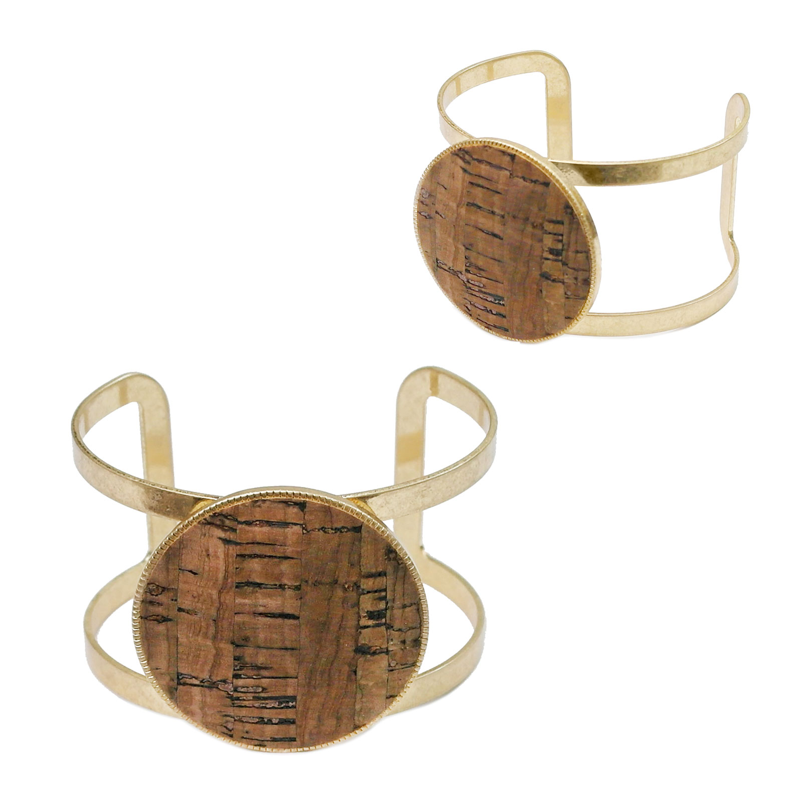 Circle Cork Leather Cuff Bracelet