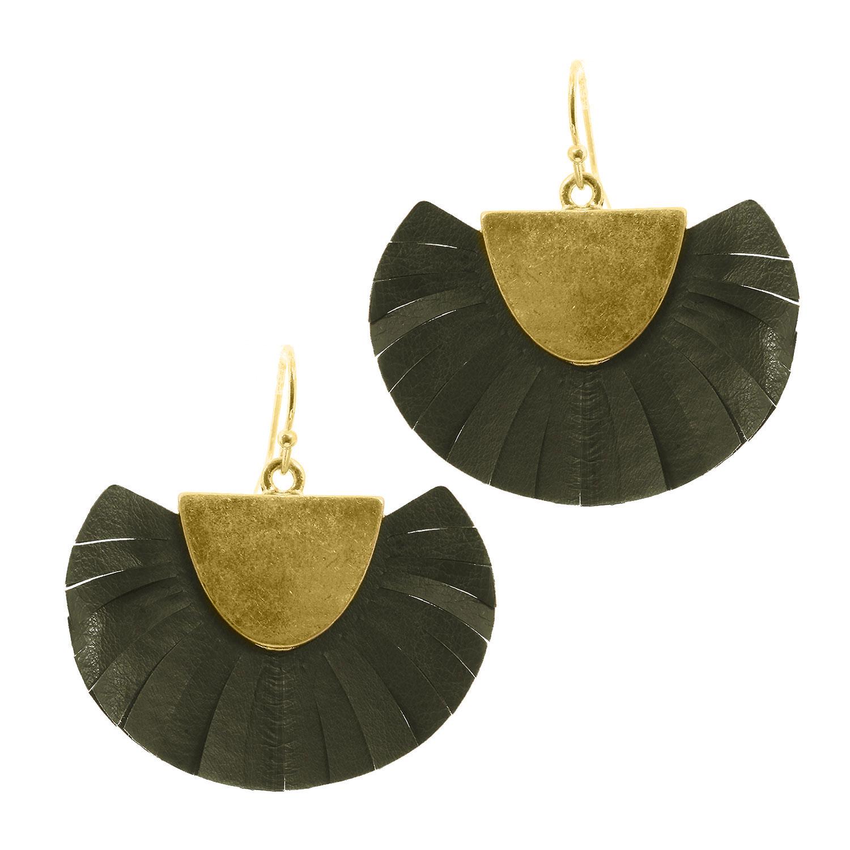 Fan Leather Tassel Earring