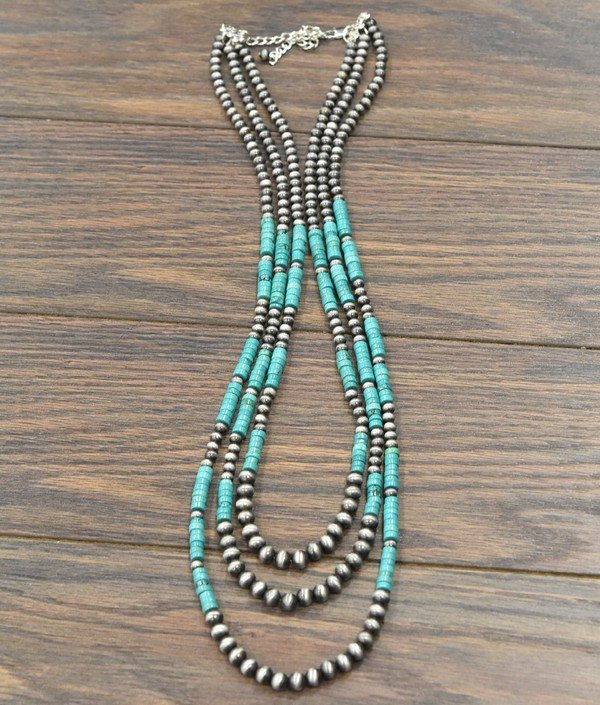 32 Long Heishi Turquoise & Navajo Pearl Necklace