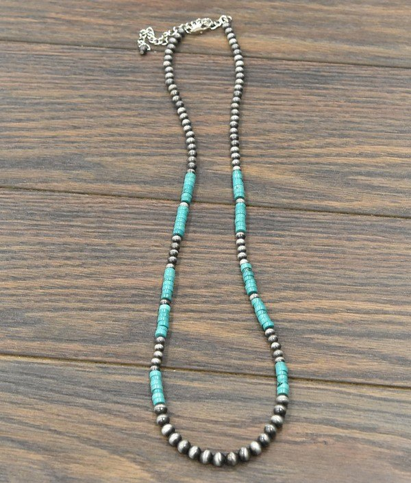 29 Long Heishi Turquoise and Navajo Pearl Necklace