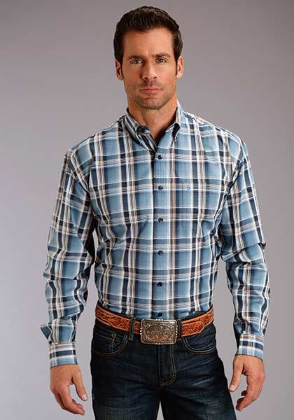 Men's Long Sleeve Plaid Woven from Stetson