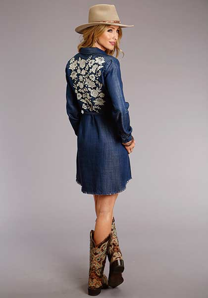 Denim Shirt Dress with Embroidered Back from Stetson