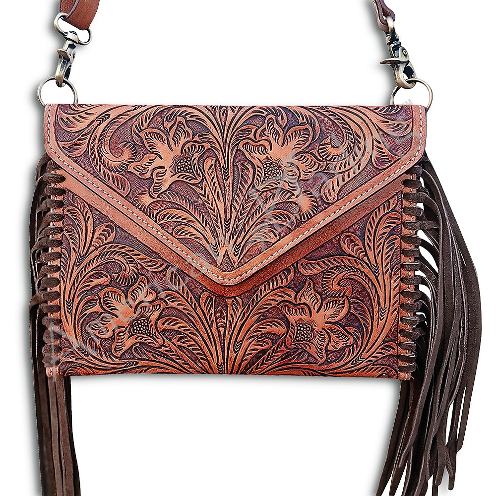 Fringe Tooled Envelope Crossbody from American Darling