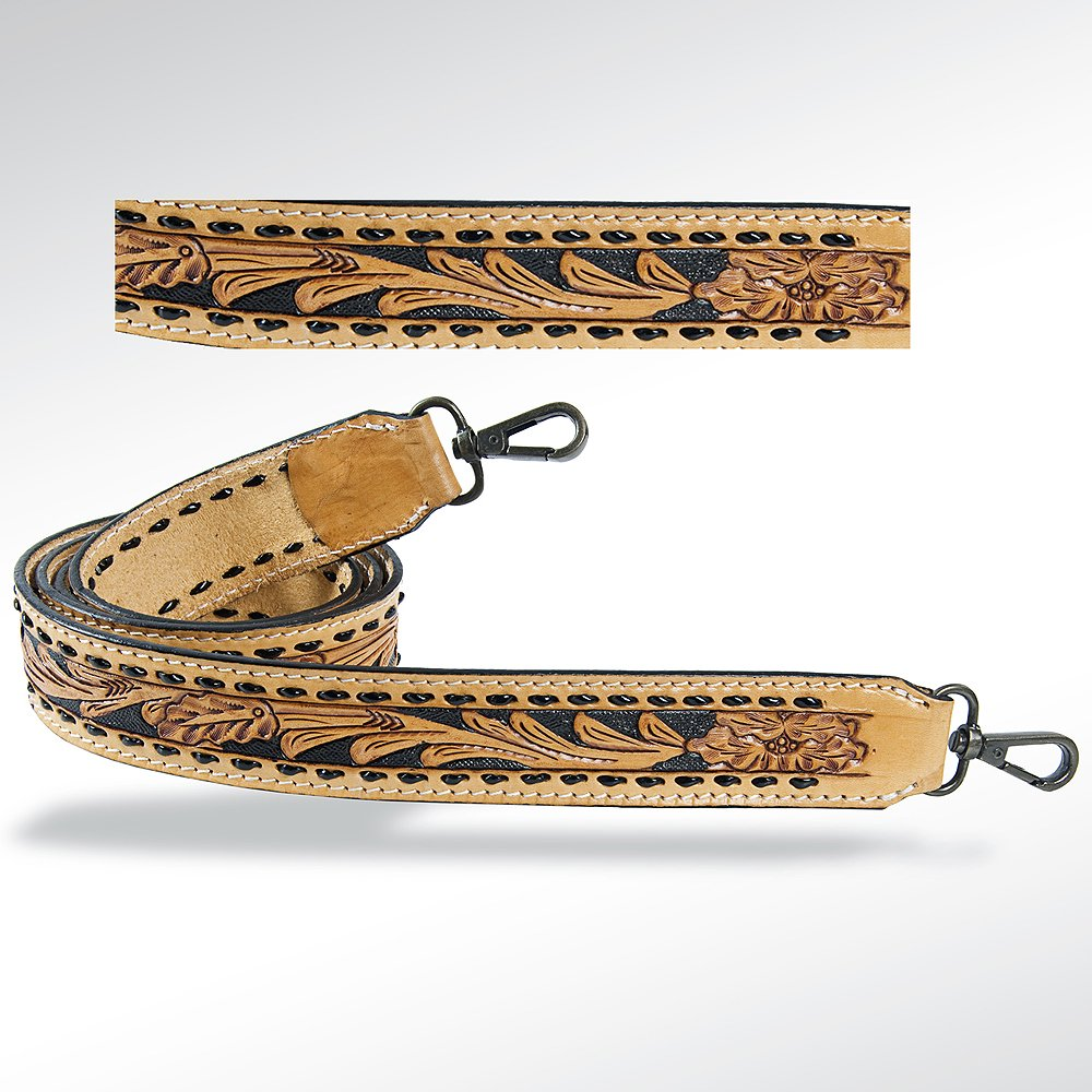 Black Laced Tooled Purse Strap from American Darling