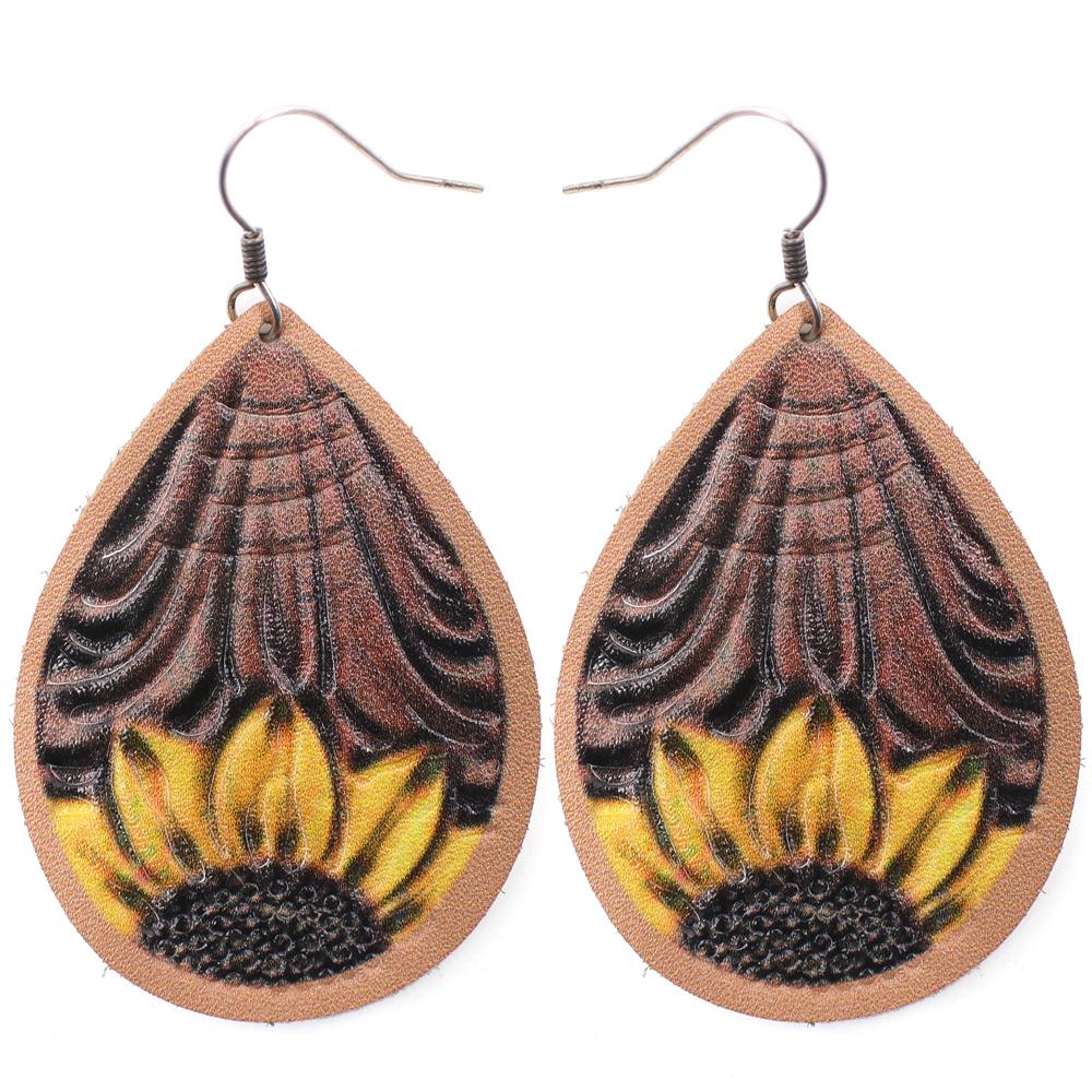 Sunflower Leather Teardrop Earrings