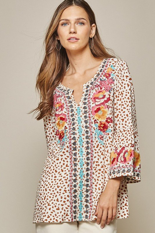 Printed Embroidered Long Sleeve Top