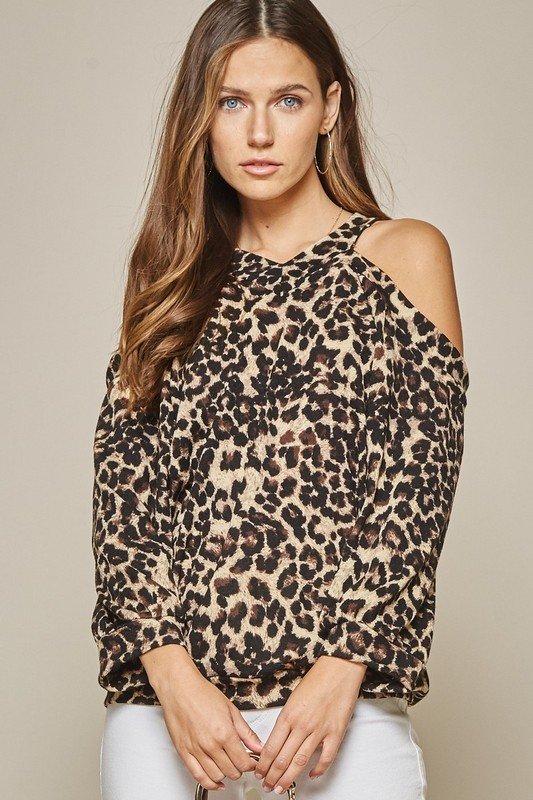 Leopard Printed Cold Shoulder Long Sleeve Top