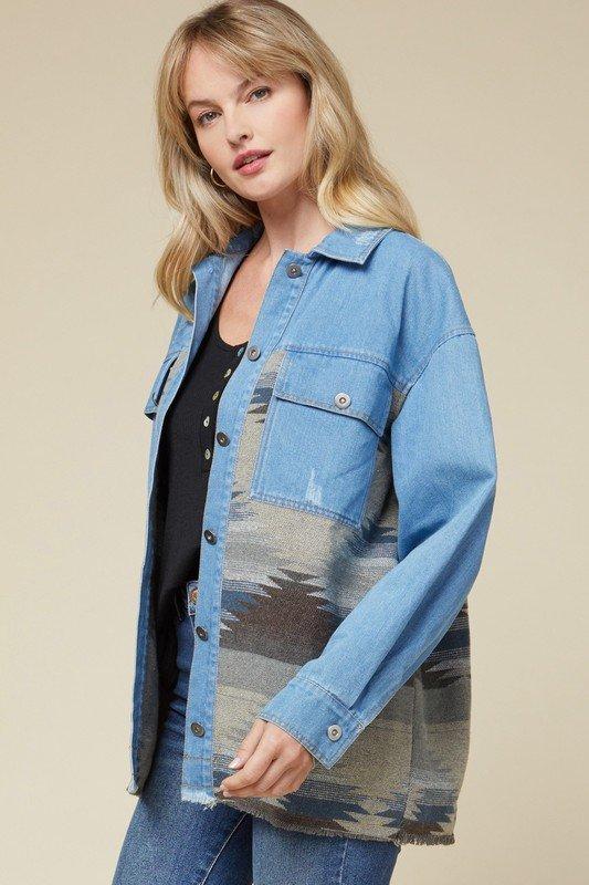Denim & Aztec Pattern Oversized Jacket