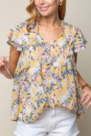 Pintuck & Frill Floral Top from Doe & Rae