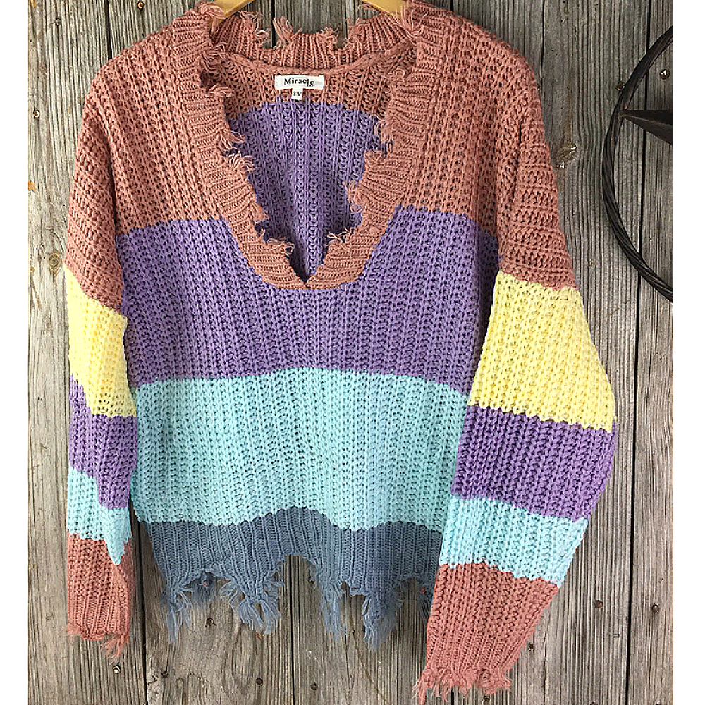 Ladies Striped Block Print Cable Knit Sweater