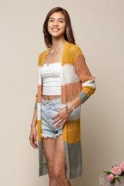 Color Block Fishnet Cardigan from Doe & Rae
