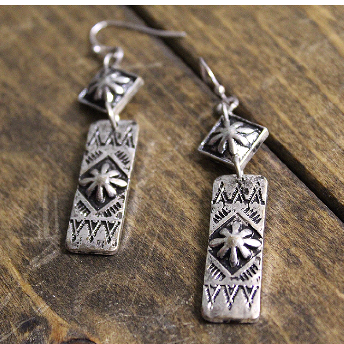 Antique Silver Stamped Drop Earring