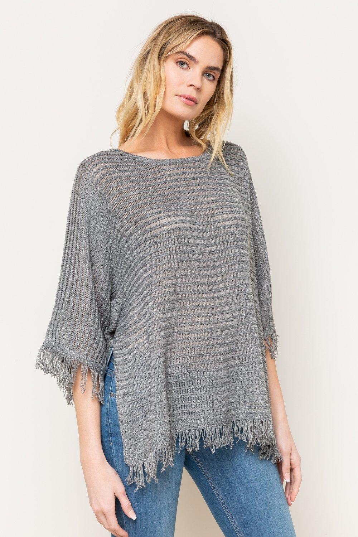 Fringed Edge Dolman Sleeve Sweater