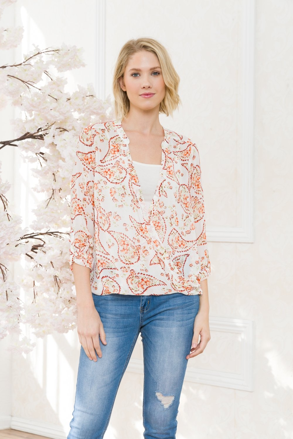 Floral Printed Chiffon Infinity Blouse