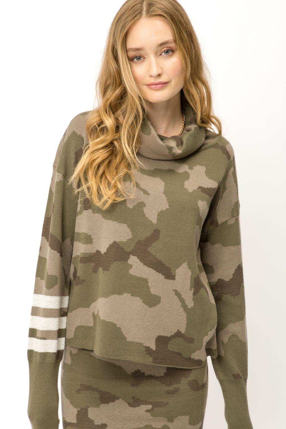 Camo Turtle Neck Crop Sweater from Mystree