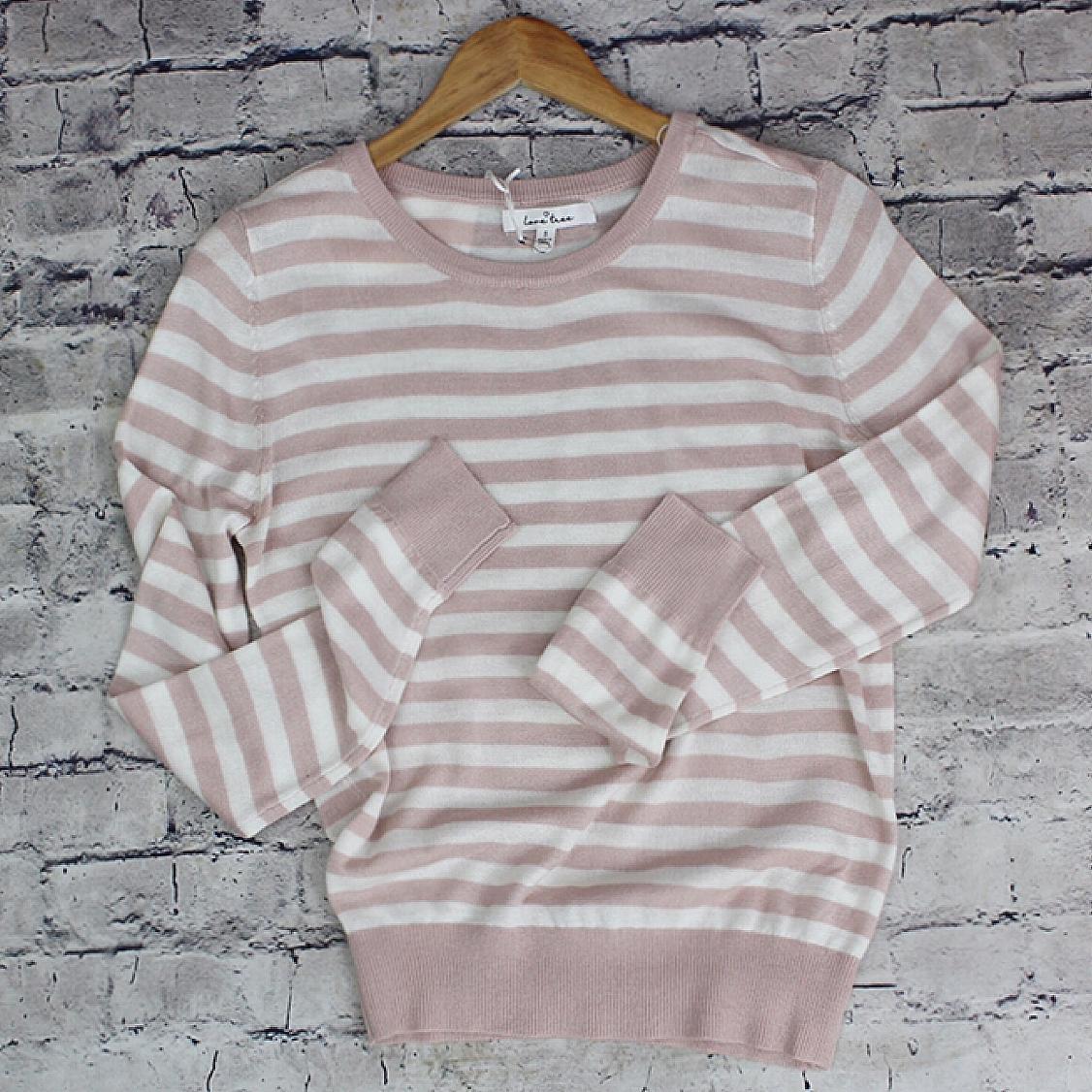 Ladies Long Sleeve Striped Crew Neck Sweater