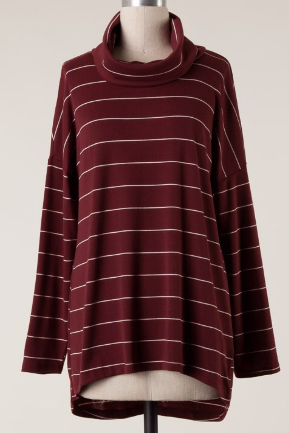 Ladies Long Sleeve Striped Tunic Top