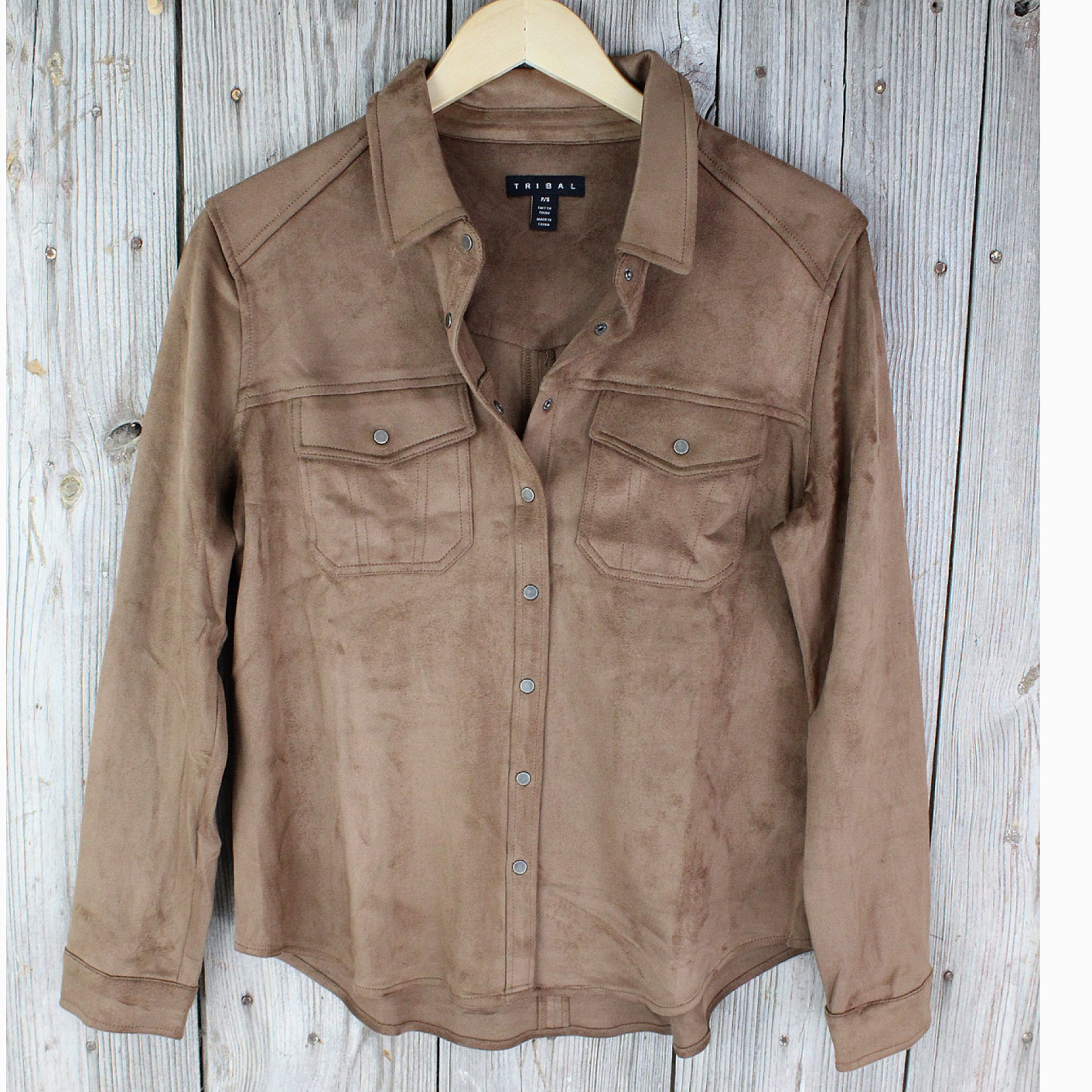 Faux Suede Shirt Jacket from Tribal