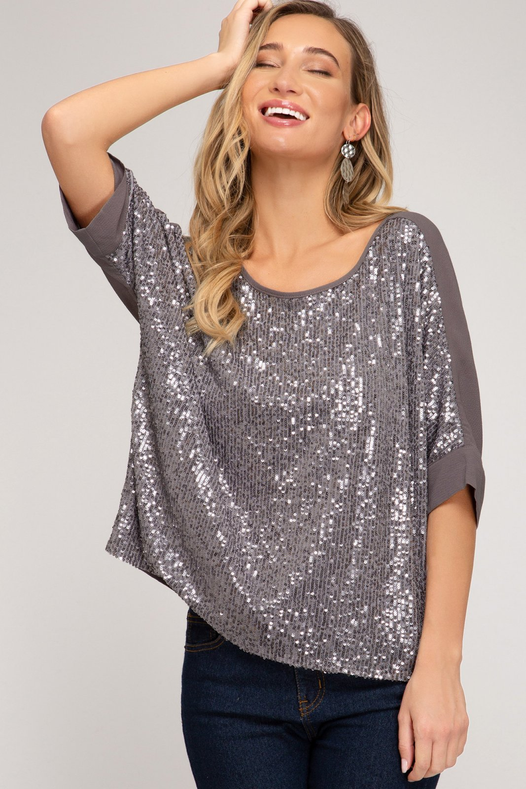 3/4 Batwing Sleeve Sequin Top