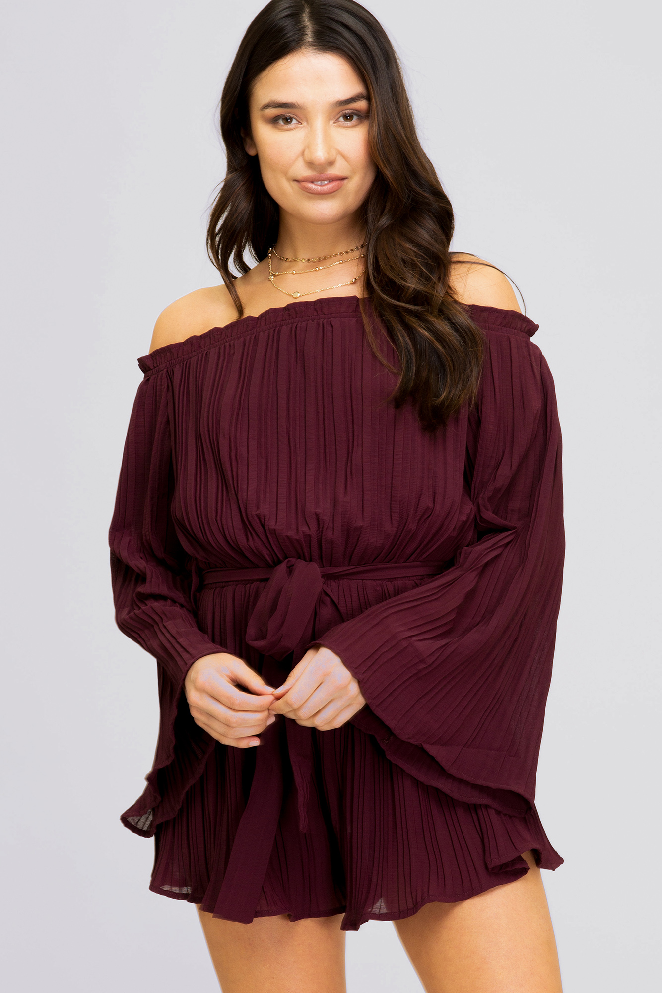Pleated Long Sleeve Romper from She & Sky