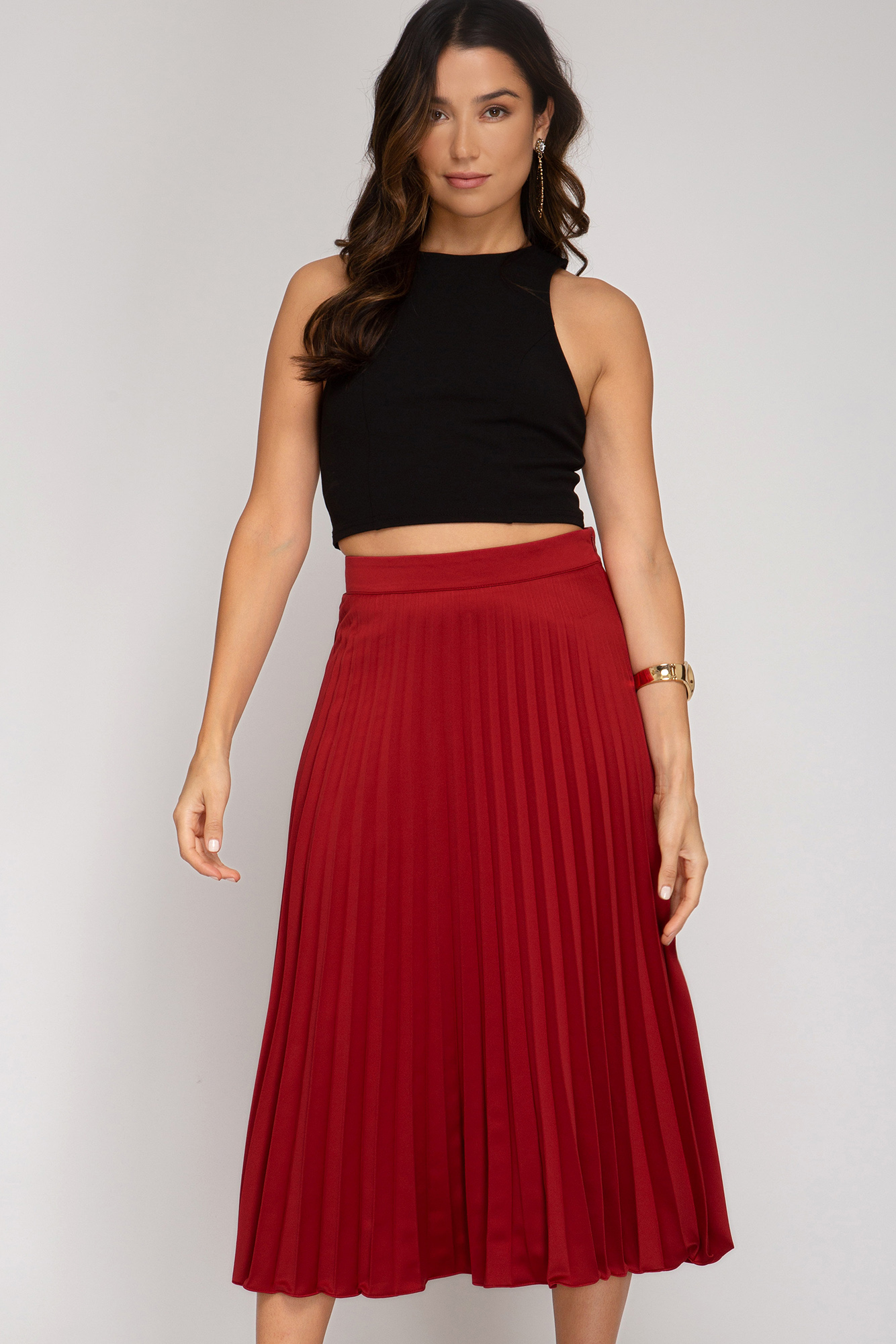 Pleated Satin Midi Skirt from She & Sky