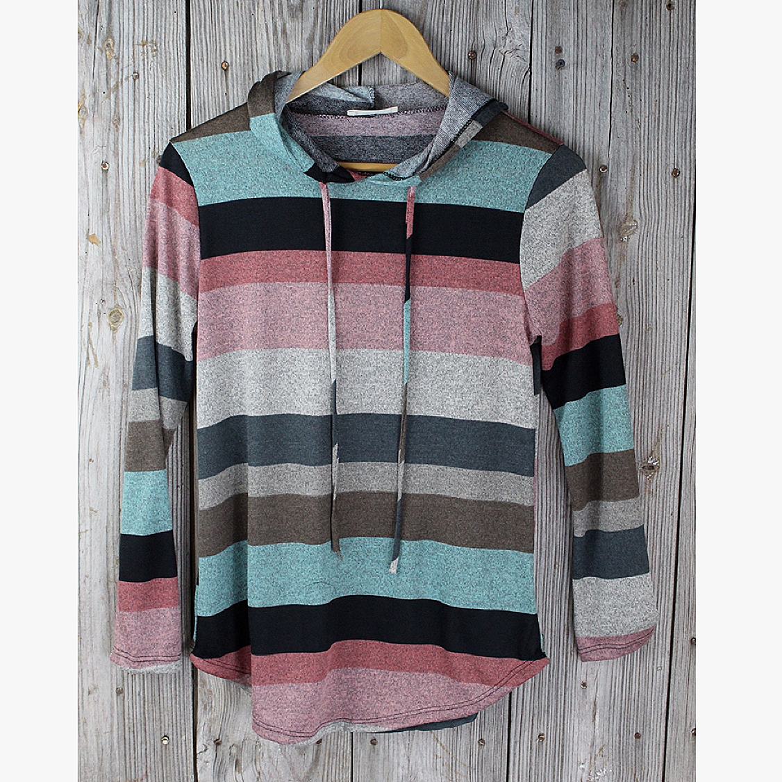 Striped Knit Top with Hood