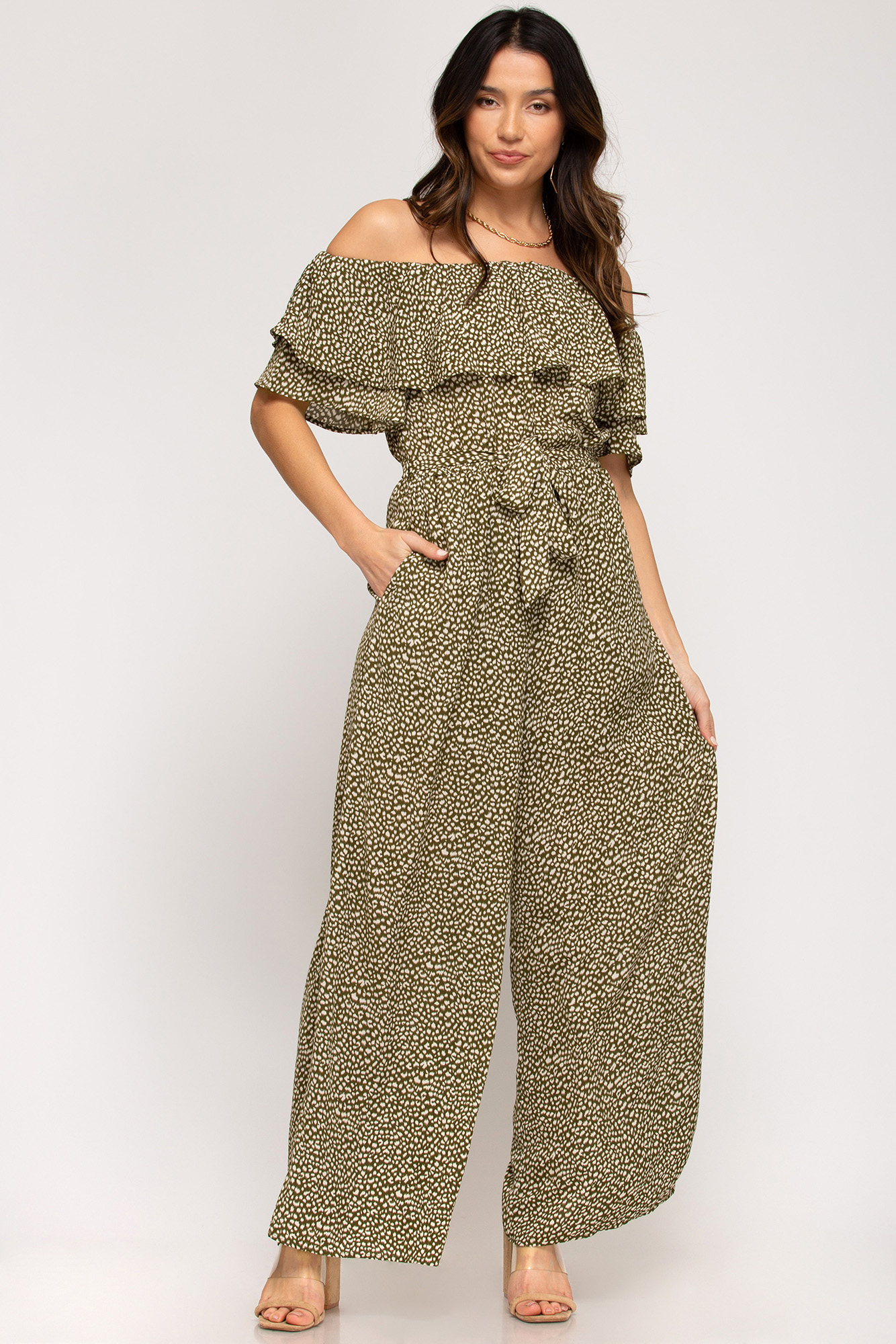 Ruffle Off Shoulder Jumpsuit from She & Sky