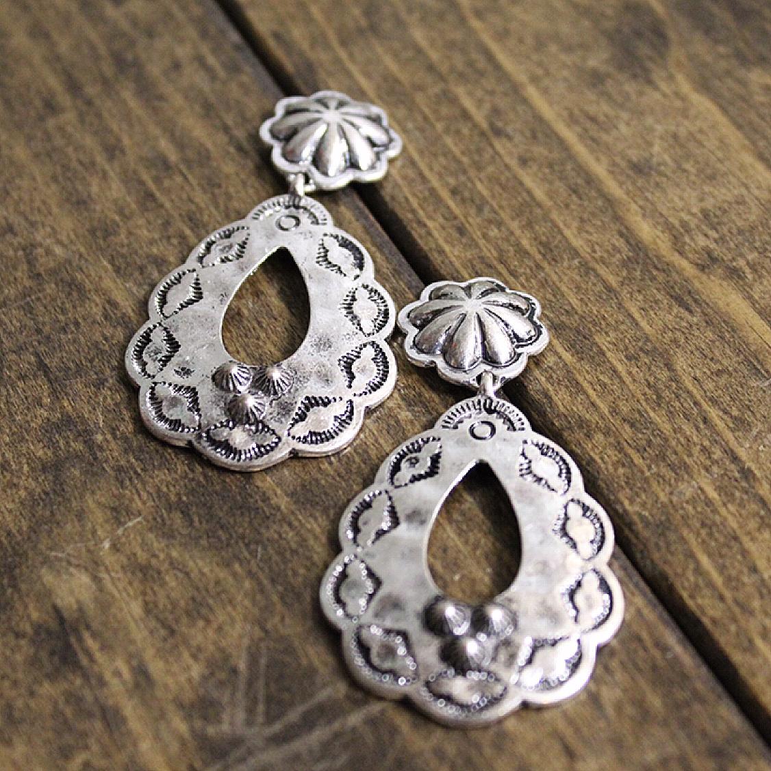 Teardrop Silver Stamped Earring