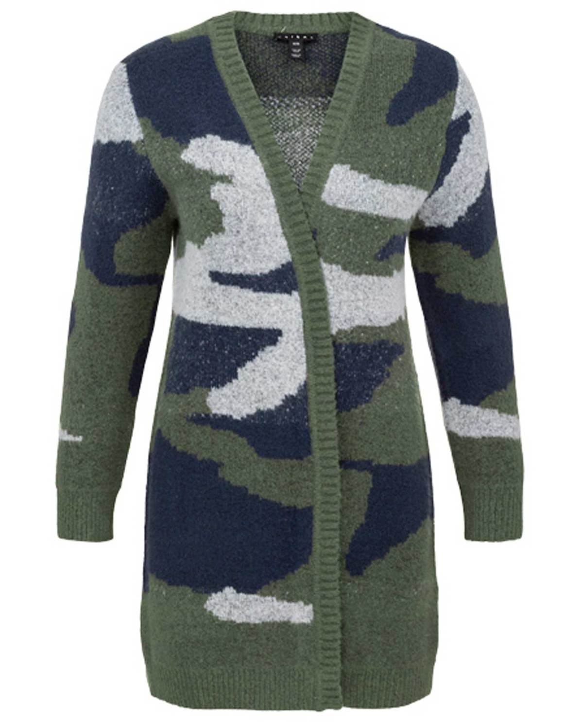 Camo Knit Open Front Cardigan from Tribal