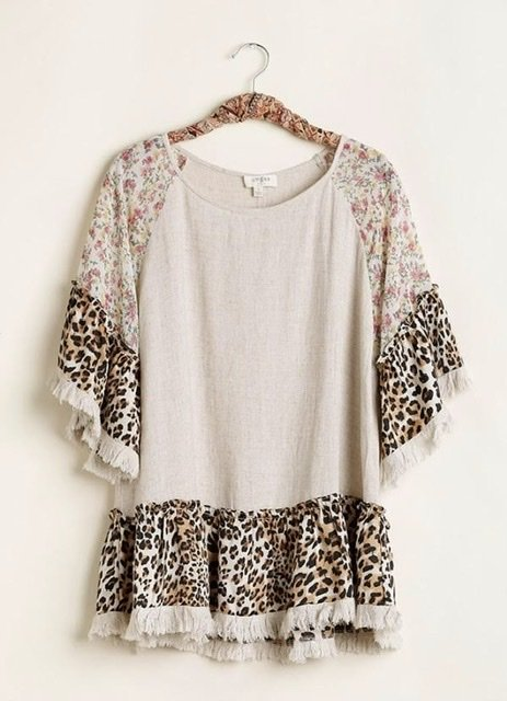 Floral and Cheetah Print Sleeve Linen Top